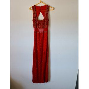 Vintage 100% Silk Beaded Evening Gown with Slit